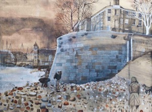 On the Foreshore, 2014,  Mixed media on Khadi paper,  112 x 151 cm