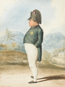 "JULIA KORNER FINE ART Portrait of Napoleon Bonaparte, standing small, with Longwood House beyond, St Helena Circa 1821 This watercolour forms part of a selling exhibition entitled ""On the Path to Waterloo: Britain & France 1793 to 1815"". 8 x 6 in. (20 x 15 cm.) pencil, pen and watercolour"