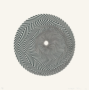 Bridget Riley Untitled (Based on Blaze) Screenprint, 1964. Signed in pencil and numbered from the edition of 50. Printer unknown. Published by the artist. (Schubert 4) 52.9 x 52.1 cm © Bridget Riley 2014. All rights reserved, courtesy Karsten Schubert, London