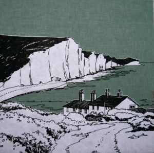 Flo Snook Seven Sisters Threadworm on linen 25 x 25cm (C)