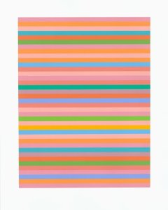 Bridget Riley Rose Rose Screenprint in colours, 2012 Signed in pencil and numbered from the edition of 250 Printed on Fabriano paper (Schubert 79) 87 x 69.5 cm © Bridget Riley 2014. All rights reserved, courtesy Karsten Schubert, London