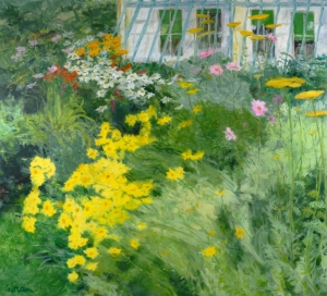GARDEN, LATE SUMMER GERALDINE GIRVAN (Born 1947) SIGNED OIL ON CANVAS 38 X 40 INCHES
