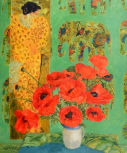 BLUE TABLE AND POPPIES GERALDINE GIRVAN (Born 1947) SIGNED SIGNED AND INSCRIBED WITH TITLE ON REVERSE OIL ON CANVAS 28 1/2 X 25 INCHES