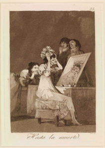 Francisco de Goya (1746- 1828)  Hasta la muerte. (Until death.) c. 1797 - 98  'Los Caprichos' 55, trial  (first edition) set, 1799 Etching, burnished aquatint and drypoint, 215 x 151 mm London, The British Museum