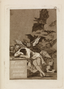 Francisco Goya, (1746- 1828) El sueno de la razon produce monstruos (The sleep of reason produces monsters) 'Los Caprichos' 43, in the Cean Bermudez trial (first edition) set, 1799 c. 1797-98 Etching, aquatint, drypoint and burin 217 x 153 mm London, The British Museum, 1975,1025.420.48
