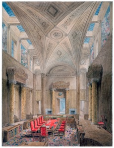 Joseph Michael Gandy RA Lecture Drawing, Privy Council Chamber c. 1827, Pencil, pen and ink, and watercolour, 950 x 720mm Courtesy of Sir John Soane's Museum