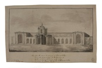 Sir John Soane Perspective of the East Front of Dulwich Picture Gallery 1812, Pen and ink, and wash, 278 x 440mm Courtesy of Sir John Soane's Museum