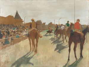 Hilaire-Germain-Edgar Degas Horses before the Stands, 1866-8 Oil on paper, glued onto canvas 46 x 61 cm Paris, Musée d'Orsay, bequeathed by Count Isaac de Camondo, 1911 RF 1981 © RMN-Grand Palais (musée d'Orsay) / Hervé Lewandowski
