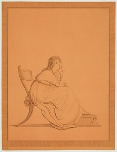 Tommaso Piroli (1752–1824) after Friedrich Rehberg (1758–1835) Emma, Lady Hamilton's 'attitudes', plate III, 1794 Engraving and etching on ochre prepared paper, 26.3 x 20.1 cm RCIN 655736 Purchased by the Prince Regent (later George IV) from Colnaghi & Co. on 15 April 1816 for 7s 6d (for the set) Royal Collection Trust / © Her Majesty Queen Elizabeth II 2015