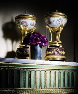 The Duc D'Aumont and Louis XVI's Brûle Parfums: A pair of gilt-bronze-mounted Japanese Kakiemon porcelain and Egyptian porphyry Brûle Parfums – the porcelain 18th century, the gilt bronze mounts Louis XVI, circa 1770-1775 Estimate: 150,000 – 250,000 GPB (209,789 - 349,649 EUR; 228,555 - 380,925 USD) Sold for: 1,985,000 GBP Copyright Sotheby's