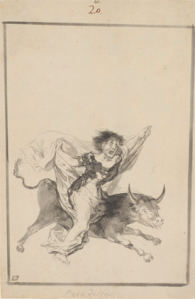 Francisco Goya (1746-1828) Pesadilla (Nightmare) 'Black Border' Album (E), page 20 c. 1816-20 Brush, black ink with wash and scraping 364 x 181 mm New York, The Morgan Library & Museum, 1959.13