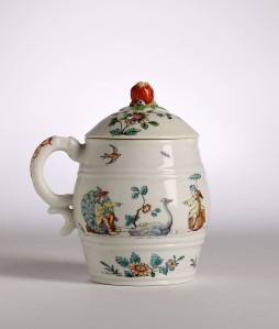 Catalogue no.16 A CHANTILLY KAKIEMON MUSTARD POT and associated cover, circa 1745