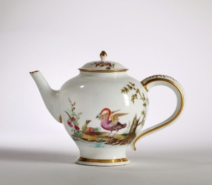 Catalogue no. 43 A VINCENNES TEAPOT AND  A COVER (théière ronde), circa 1750-52