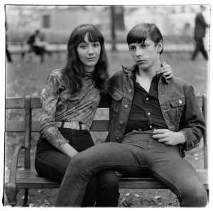 "Diane Arbus ""Young couple on a bench in Washington Square Park, N.Y.C"" 1965 © The Diane Arbus Estate, courtesy Timothy Taylor Gallery"