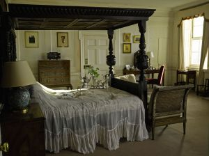 The Duchess's Bedroom, with a silver-plated breakfast-in-bed tray by Asprey & Co Ltd (£200-£300) on the bed.