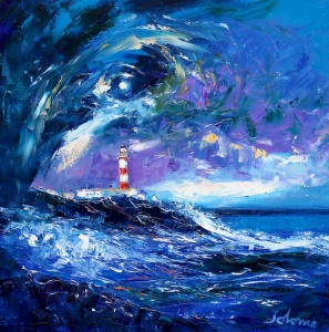 Big Squall over Scalpay Lighthouse.                 oil on canvas.   20 x 20 inches.