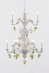 Chris Antemann, Lemon Chandelier, 2014,  MEISSEN COUTURE Art Collection.  Exhibited at COLLECT by Cynthia Corbett Gallery