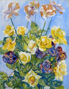 Sir Jacob Epstein (1880 – 1959)  'Roses', gouache on paper.  Babbington Fine Art.