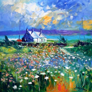 Evening Summerlight Isle of Gigha.                  oil on canvas.   24 x 24 inches.