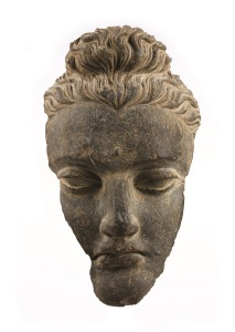 Gandhara Schist Head of the Buddha Afghanistan, 3rd Century AD Size: 36cm high