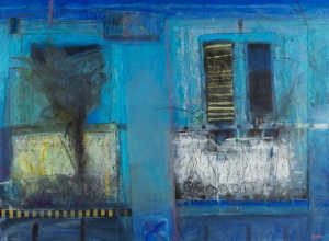 Blue Balconies, Havana  Mixed media on board  34 x 46 inches
