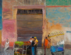 Corrales Street Vendors,Havana   Mixed media on board  24 x 32 inches