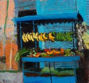 Street Stall, Havana  Mixed media on board  10 x 10.75 inches