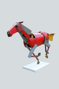 Iain Nutting 'Galloping Horse', 2014,  reclaimed scrap metal, 212 (h) x 322 x 70 cm. Rebecca Hossack Gallery.