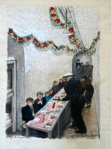 Olga Lehmann (1912 - 2001) ' St Johns Wood Church Xmas Party', 1940.  Ink & watercolour, signed, dated and inscribed.  The Boundary Gallery