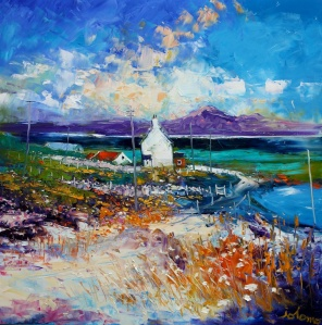 Summerlight Isle of Berneray looking to Harris.   oil on canvas.   30 x 30 inches.