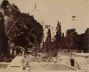 Dr. John Murray. Gardens of the Taj Mahal. Agra, circa 1856.  Albumen print, 37.8 x 43.4 cm