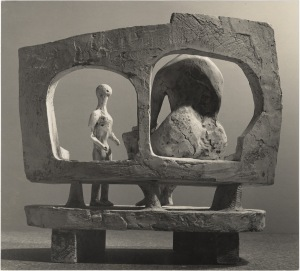 Henry Moore Mother and Child against Open Wall (plaster maquette for UNESCO commission 1956-57) 1956 15 3/4 x 19 3/4 in / 40 x 50.2 cm gelatin silver print mounted on stock card (c.1956) Courtesy of Waddington Custot Galleries