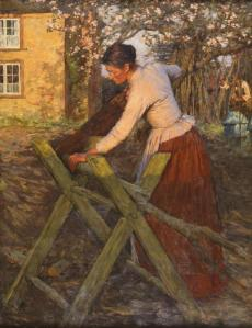 Henry Herbert La Thangue 1859-1929 RA NEAC In a Cottage Garden (The Sawing Horse), 1896 oil on canvas H 114 x W 88 cm (H 45 x W 34 5⁄8 in)