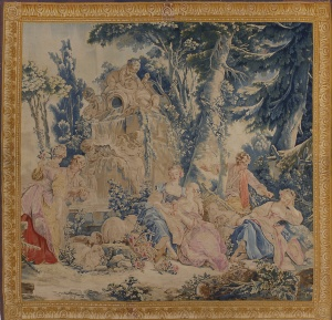 Beauvais, designed by François Boucher, Fontaine d'Amour, 1755-1775;  wool and silk; 3365 x 3469mm;  Waddesdon, The Rothschild Collection (The National Trust) Bequest of James de Rothschild, 1957; acc. no. 2438.3.  Photo: P J Gates © The National Trust, Waddesdon Manor