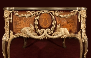 Guillaume Beneman, writing table, 1786;  oak carcass; veneered with purpleheart; with sycamore, ebony, boxwood and casuarina wood marquetry, gilt-bronze mounts and a leather top; 790 x 1902 x 895mm;  Waddesdon, The Rothschild Collection (The National Trust) Bequest of James de Rothschild, 1957; acc. no. 2575.  Photo: Mike Fear © The National Trust, Waddesdon Manor