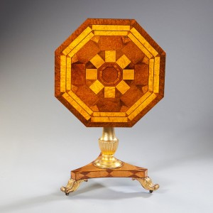 A 19TH CENTURY MARQUETRY TILT TOP TABLE - POSSIBLY JAMAICAN ORIGIN Jamaica, c. 1840  Height 70.00cm (27.56 inches) Width 64.00cm (25.20 inches) Depth 64.00cm (25.20 inches) Nicholas Wells Antiques