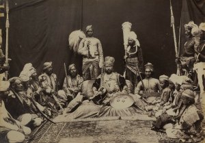 Raja Deen Dayal. Maharaja Bhan Pratap Singh of Bijawar. Central India, circa 1882  Albumen print, 19.5 x 26.5 cm