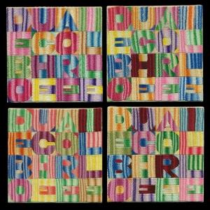 Alighiero Boetti, De Bouche a  Oreille, 1993,  embroidery on fabric, each 18 x 18 cm, Courtesy Mazzoleni  London