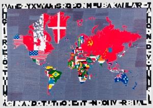 Alighiero Boetti,  Mappa, 1979,   Embroidery,  90x130.5 cm,  Courtesy Mazzoleni London