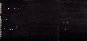 Alighiero Boetti,  Smettere in  Moto 1978-79,  ballpoint pen on paper laid down on canvas, 3 panels, 100x70  cm each,  Courtesy Mazzoleni London