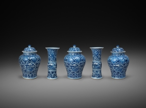 Blue and White European Subject Five-Piece Garniture,  China - Qing dynasty, Kangxi period, circa 1700-1710.  Jorge Welsh