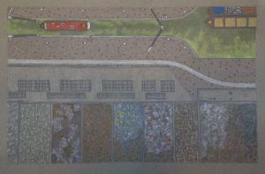 Alberta Bamonte (B. 1956) Old Ford Lower Lock, E9, 2015 coloured pencil on paper 35 x 50 cm.