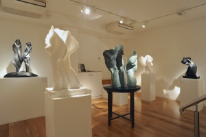 Installation shot of Helaine Blumenfeld / Henry Moore: A Dialogue 1985-2015 at Bowman Sculpture