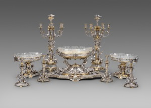A VICTORIAN PARCEL-GILT SILVER NINE-PIECE TABLE GARNITURE MARK OF ELKINGTON & CO., BIRMINGHAM1878/79 Koopman Rare Art