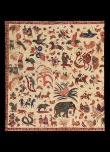 A batik sarung from the studio of Catherina Van Oosterom in Banyumas, Java. During the mid 19th century a new type of batik was invented by a small group of Indo-European women, working traditionally with natural dyes and molten wax applied to cotton by means of a pen (canting). This genre is known as the Indische school and combines both Asian and Western design elements.  Jonathan Hope