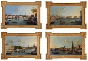 The Hall Place Quartet by William James (Fl 1754 -1771)  Four views of the Thames, Old London Bridge, Somerset House and one the River Thames at York Steps Oil on canvas. James Harvey British and Sporting Art