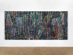 Gabriel Hartley  Phase, 2014  oil and spray paint on canvas 175 x 390 cm, 68.9 x 153.5 in  Image courtesy Pippy Houldsworth Gallery, London. Copyright the artist.