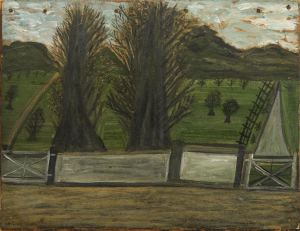 'Landscape with trees'  Alfred Wallis 1855 – 1942 Oil on board with nails Anthony Hepworth