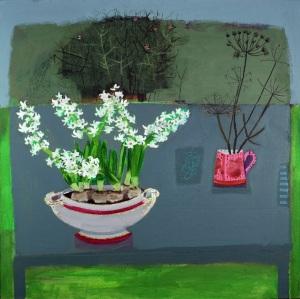 """Grannies Annual Hyacinths"" by Emma Dunbar.  Mixed media 76 x 76cm.  Cornwall Contemporary."