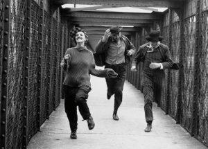Jeanne Moreau, Henri Serre and Oskar Werner in Truffaut's Jules et Jim (Charenton-le-Pont).  Copyright Raymond Cauchetier, Courtesty James Hyman Gallery